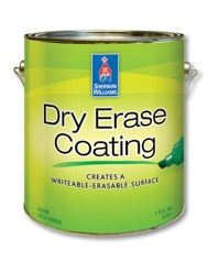 Dry Erase Coating - turn most walls into a dry erase board - clear gloss can be used over any paint color (so you can have a colored dry erase board on you wall - how cool is that!!)