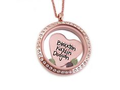 Rose Gold Personalized Heart Names Locket