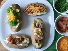 Slow Cooker Baked Potato Bar Come home to these creamy potatoes and have fun topping them as a family!