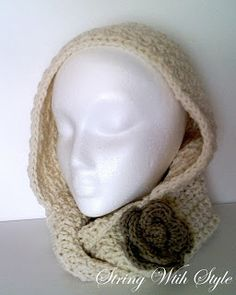 Hooded Infinity Scarf. Free Pattern! Includes flower pattern as well.