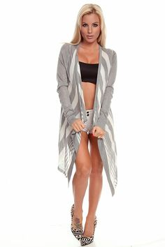 This must have V-shape striped cardigan is super comfortable and stylish. Front side drops down to the knees. Imported.  #lollicouture #chic #love #croptop #summerfashion #fashionista #summerstyle