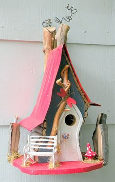 Woodland Wonder Rustic Crooked Birdhouse in by adventureoriginals
