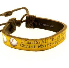 Forgiven Jewelry - Baseball Phil 4:13 Leather Bracelet