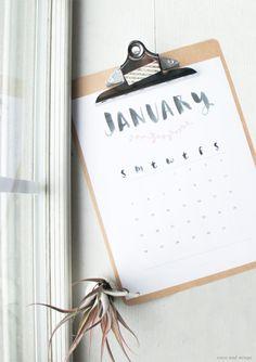 January 2014 Calendar // Free printable