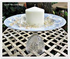 Light Blue Toile Cupcake Stand / Pedestal by GardenWhimsiesByMary