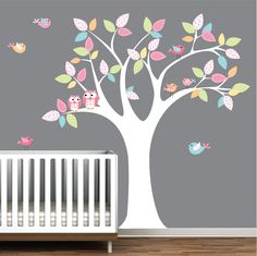 love this Children Wall Decals Vinyl wall decal Tree with birds-Vinyl Tree Wall Decal-Modern Walls. $99.00, via Etsy.