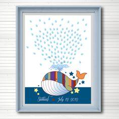 Baby shower guest book. Fingerprint Thumb print  - nursery art decor. DIY printable and personalized.. €20.00, via Etsy.