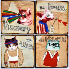 Cat Crazy set of 4 wood panels by retrowhale on Etsy, $45.00