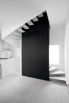 white staircase, white houses, stairway, design interiors, black wall
