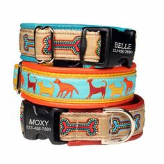 Designer Leather Padded Dog Collars - Three layers of materials for a strong and elegant collar. Comes with engraved personalized buckle! $39 at www.dogids.com