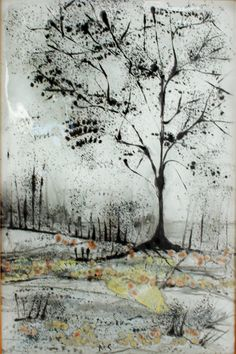 fused glass Painting - landscape on glass