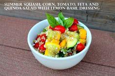 Summer Squash, Corn, Tomato, Feta and Quinoa Salad with Lemon Basil Dressing