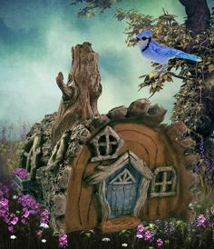 Log Fairy House in the fairy garden.