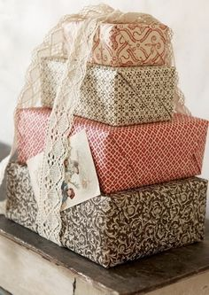 Would be fun to use fabric to wrap instead of paper:)
