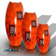Ensemble de trois jarres aplati orange - Decorative Vases