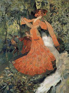 """Georges de Feure (French, 1868-1943), """"Elegante pres d'une Source"""""""