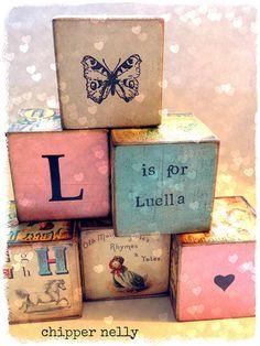 Vintage Nursery wooden blocks - do these in lavender, pink, green & blue & with owls & birdies