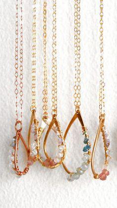 Rough Diamond Pink Blue White Pendant Necklace Pastel
