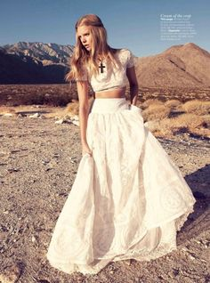 white crop top and #highwaisted long white #skirt with #crossnecklace