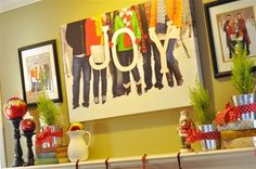 """Love this idea! Take a picture of your family in winter/Christmasy garb holding the letters """"JOY"""" to add to your Christmas decorations."""