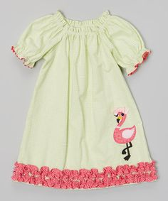 Look at this #zulilyfind! Lime Flamingo Puff Sleeve Dress - Infant, Toddler & Girls #zulilyfinds