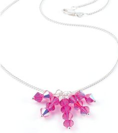 #DIY Pink Crystal Drop Necklace