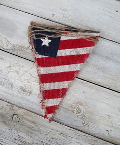 4th of July Patriotic Burlap Banner / Memorial Day / Veterans Day / American Flag / Red White & Blue via Etsy