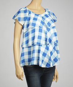 Look at this #zulilyfind! QT Maternity Blue & White Plaid Maternity & Nursing Top by QT Maternity #zulilyfinds