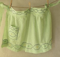 vintage gingham apron found at PassedBy on Etsy.
