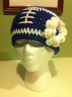 Women's Colts Blue Football Beanie with White Flower