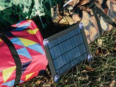 Just slide the solar panel inside the rear pocket of any Bang Bang Tent. As long as the solar cell gets some sunlight, you can charge just about any low voltage laptop or smartphone.