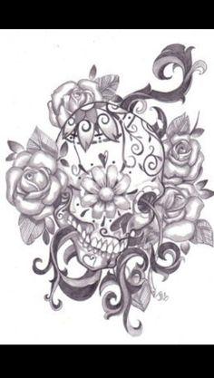 Sugar skull tattoo love how realistic it looks