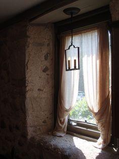 rustic window, window wall, window seats, curtain