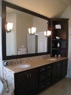 Solid Surface Bathroom Countertop; I love the colors and cabinets; not the corner shelf