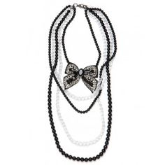 Black and white bow and pearls