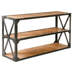 Bleeker Recycled Console Table by Furniture Classics LTD. Save 13 Off!. $987.50. Dimensions: 63W x 17.75D x 33.5H inches. Medium wood finish and gray steel frame. Console table crafted from recycled materials. Made of reclaimed fir and recycled steel. 2 shelves for storage or display. 72034 Features: -Reclaimed.-Recycled steel frame. Construction: -Fir, wood / steel construction. Collection: -Bleeker collection.