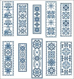 Victorian Blue BookMarks Cross Stitch PDF Chart via Etsy.