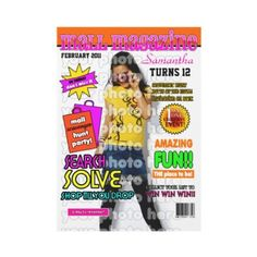 No matter the weather a birthday party scavenger hunt at the mall is a great way to celebrate a birthday! Upload your girl's picture (a white or very light background works best) and personalize all the details for these super fun magazine cover style Mall Scavenger Hunt birthday party invitations.