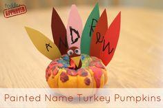 Painted Name Turkey Pumpkins