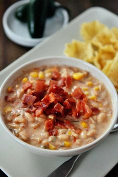 """Slow Cooker Jalapeno Popper White Bean Chili from Mel's Kitchen Cafe; Mel says this chili is """"freakishly delicious!"""" [via Slow Cooker from Scratch] #SlowCooker #CookAllDay"""
