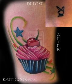 Cupcake cover-up by ~AngryBettie on deviantART #cupcake #coverup #tattoo tattoo idea, cupcak tattoo, coverup tattoo, deviantart cupcak, tattoo inspir, cupcak coverup
