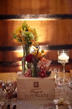 Wine Themed Wedding - Really like the wine box centerpiece.