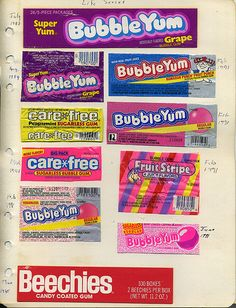 old gum packaging. This is a neat idea for the kids so they remember when they get older.