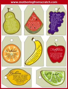 FREE Fruit of the Spirit Printable: Can be used for bookmarks, gift tags, index cards, in the kids' lunch boxes, etc!