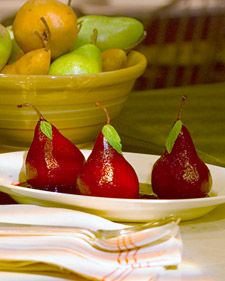 Choose perfectly ripe pears for this recipe; if they're overripe, they will be too soggy, and if they're underripe, they won't poach well. Bosc pears, which hold their shape well when baked or poached, have a sweet, tart flavor, but you can also use Anjou or Bartlett pears.