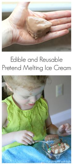 """A fun pretend frozen """"dough"""" that melts like real ice cream.  Smells just like the real thing - and is edible (taste-safe) and also reusable (refreezable).  From Fun at Home with Kids"""