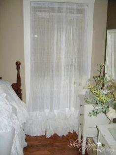 Stunning White Cotton Gauze Curtain Panel Triple Ruffles