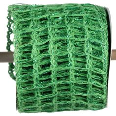 Jute Metallic Ribbon Color: Apple Green with a bit of foil Size: 4 in width; 10 yards length Material: Jute Wired Arriving Summer 2013