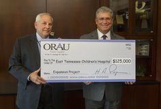 Oak Ridge Associated Universities (ORAU) donated $125,000 to the Children's Hospital expansion project. univers orau, donat 125000, ridg associ, oak ridg, associ univers, expans project, children hospit, hospit expans