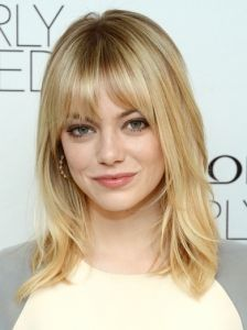 @Emily Schoenfeld Schoenfeld Berry (Emma Stone Medium Layered Hair with Bangs,) this would look cute on you!